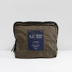 Armani Jeans Packaway Nylon Ripstop Backpack in Khaki