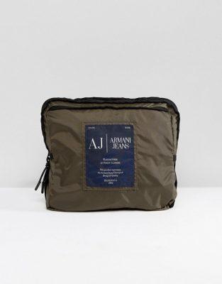 Armani Jeans Packaway Nylon Ripstop Backpack in Khaki