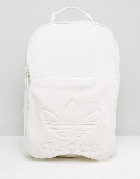 adidas Originals Backpack With Borg Pocket In Cream BQ8120