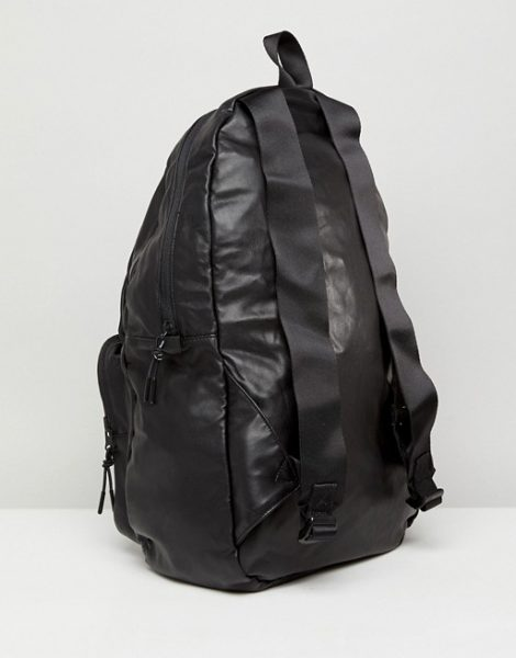 Armani Jeans Faux Leather Logo Backpack in Black